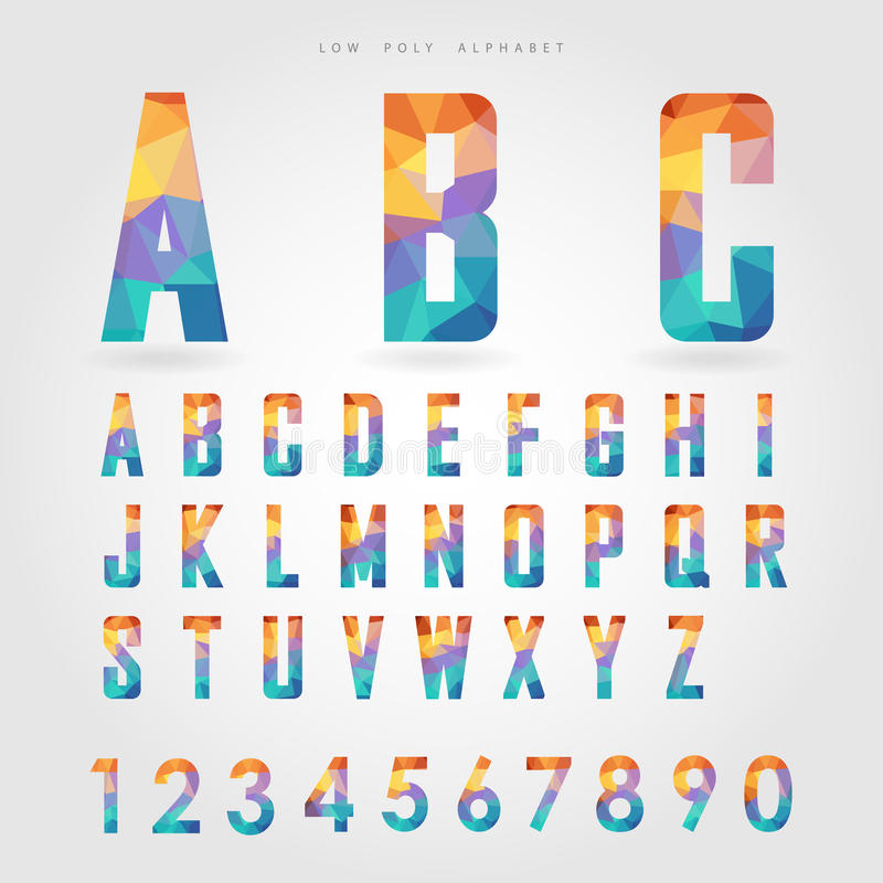 Poli alfabeto e numero bassi sul concetto del poligono illustrazione vettoriale