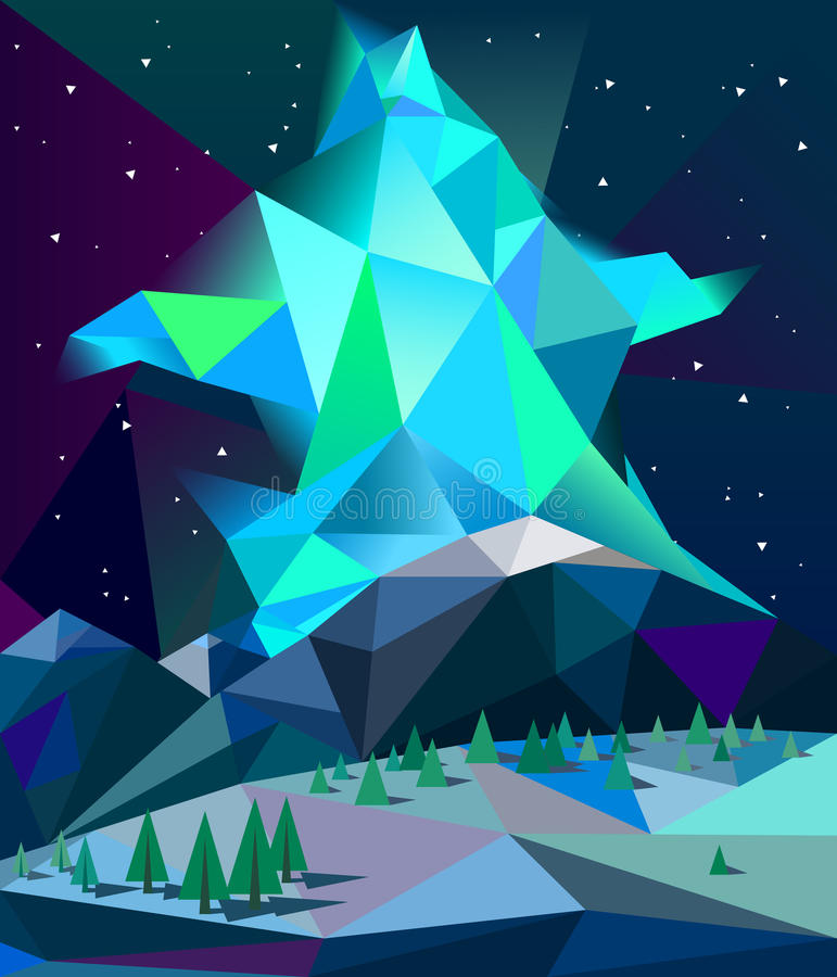 Poli aurora boreale bassa sopra le montagne nel vettore di notte di inverno fotografia stock libera da diritti