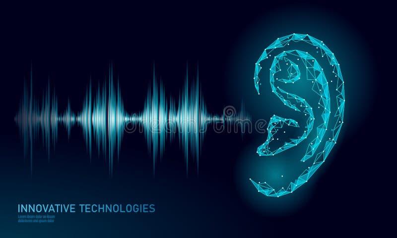 Poli basso di aiuto di voce sana di riconoscimento La maglia 3D poligonale di Wireframe rende l'onda radio sana dell'orecchio inn illustrazione di stock