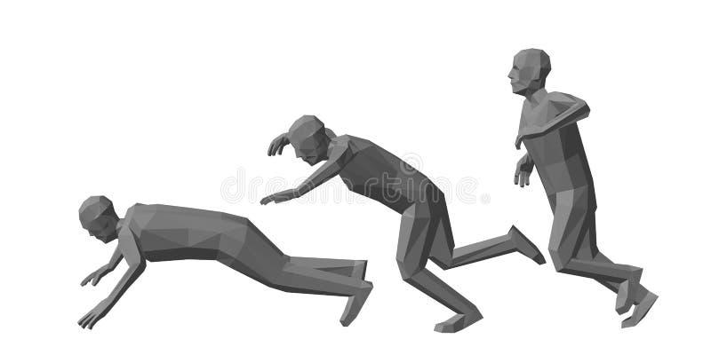 Poli caduta bassa dell'uomo Isolato su priorità bassa bianca Illus di vettore illustrazione di stock
