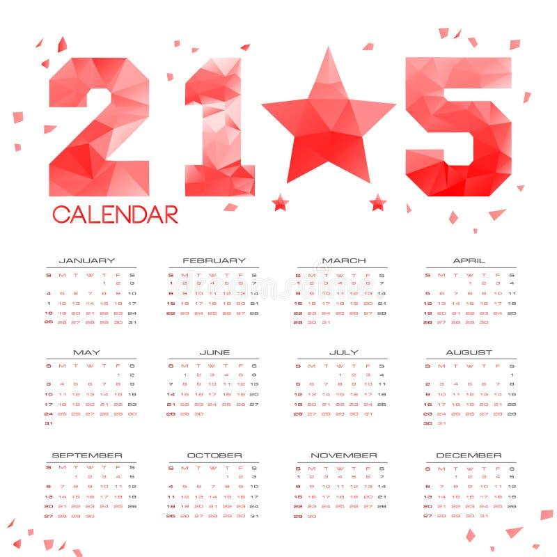 POLI calendario semplice 2015 immagini stock