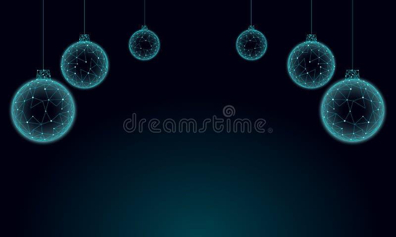 Poli cartolina d'auguri bassa di festa delle palle dell'albero di Natale 3D Il nero scuro blu del cielo notturno del buon anno Co illustrazione vettoriale