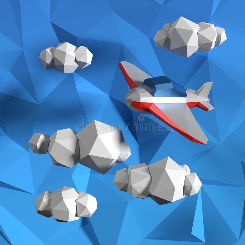 Poli cielo basso con le nuvole ed il piccolo aeroplano illustrazione di stock