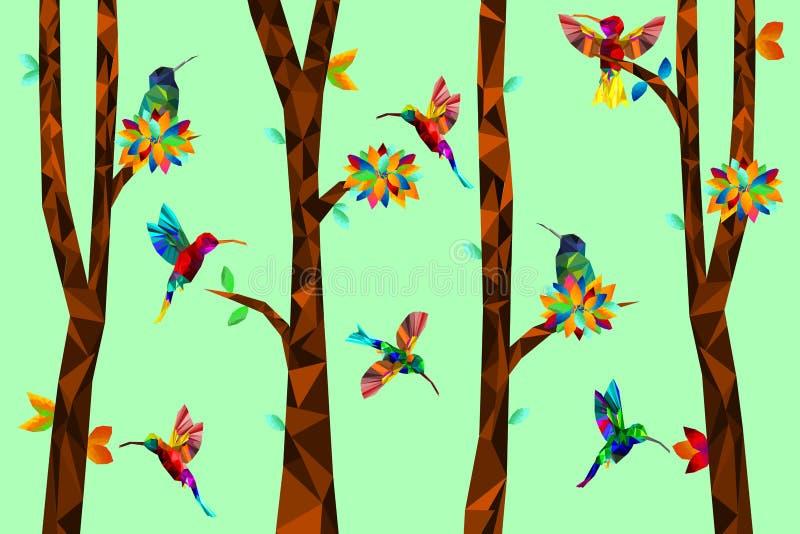 Poli colibrì variopinto basso con l'albero sulle foglie cadenti indietro a terra, uccelli sui rami, concetto geometrico animale,  illustrazione di stock
