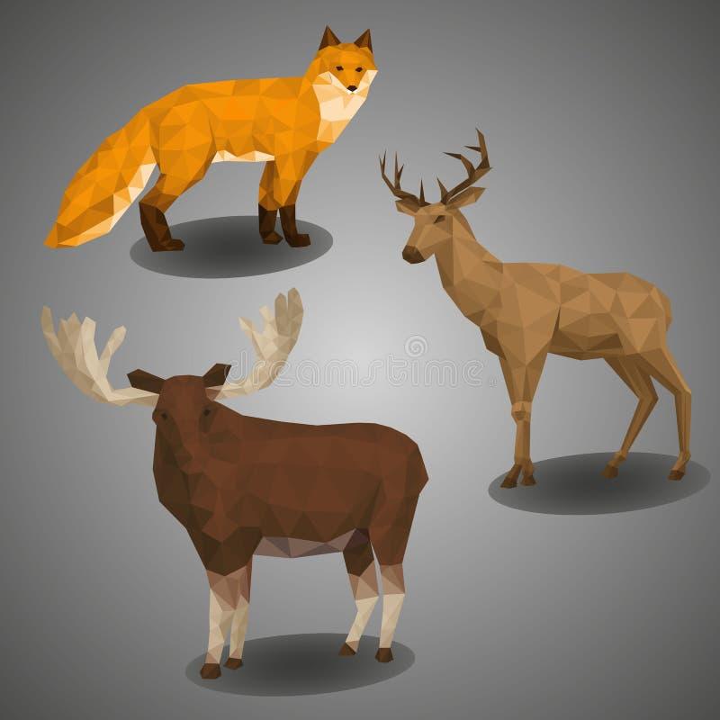 Poli compilazione bassa dell'animale della foresta Ilustration ha messo nello stile poligonale Fox, cervi ed alci su fondo grigio royalty illustrazione gratis