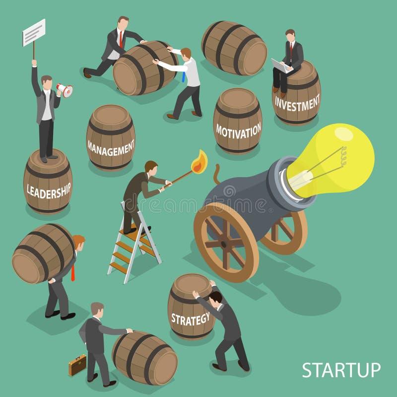 Poli concetto basso isometrico piano Startup di vettore illustrazione vettoriale