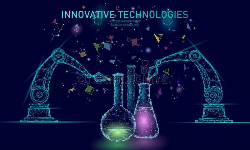 Poli concetto chimico basso di scienza di sintesi Reattore di produzione materiale di chimica del laboratorio del poligono Innova royalty illustrazione gratis