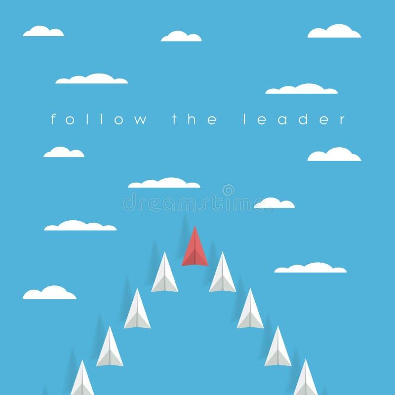 Poli concetto piano di carta basso di direzione di affari con l'aeroplano rosso e lo squadrone bianco di volo nel cielo Successo royalty illustrazione gratis