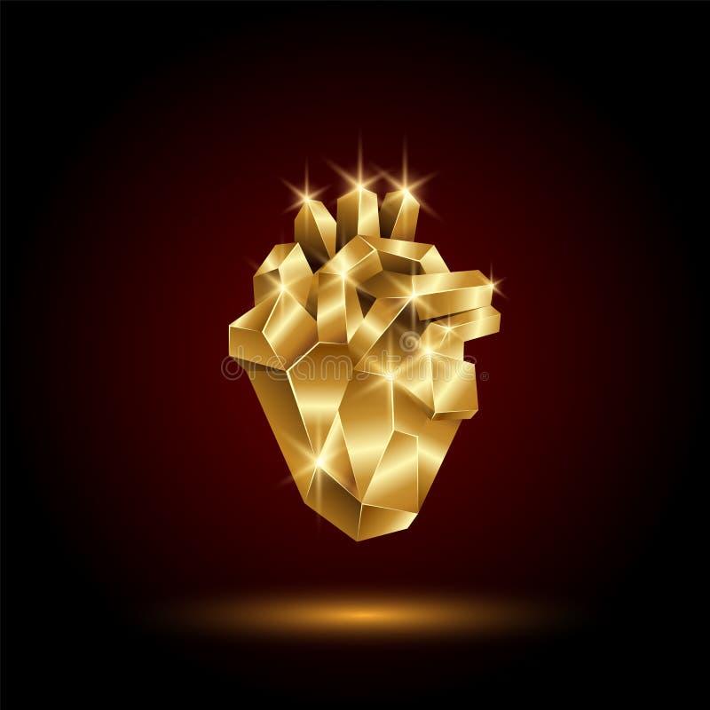 Poli cuore umano dorato basso Organo astratto di anatomia Cuore dell'oro del poligono di vettore 3D illustrazione vettoriale