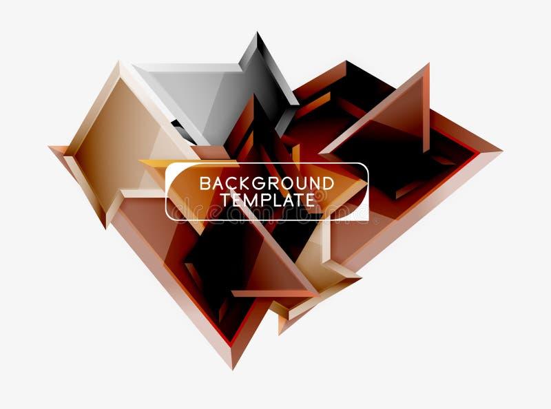 Poli 3d composizione triangolare variopinta luminosa, fondo geometrico astratto, progettazione minima, futuristico poligonale illustrazione vettoriale