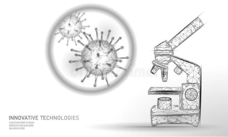 Poli do vírus 3D do microscópio baixo rende Gripe da gripe do vírus de hepatite da doença crônica da infecção da análise do labor ilustração royalty free