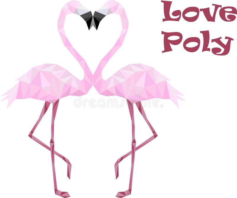 Poli fenicotteri bassi rosa nell'amore immagine stock