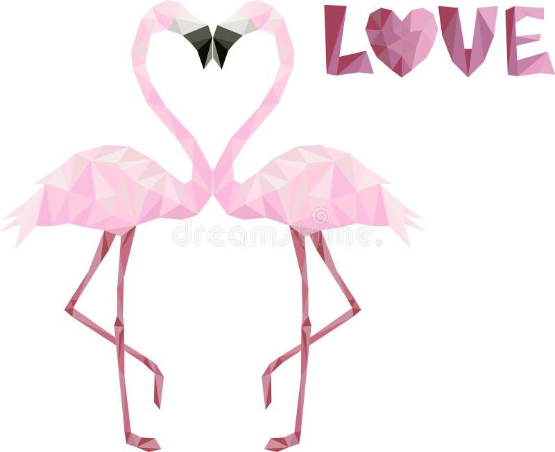 Poli fenicotteri bassi rosa nell'amore fotografia stock libera da diritti