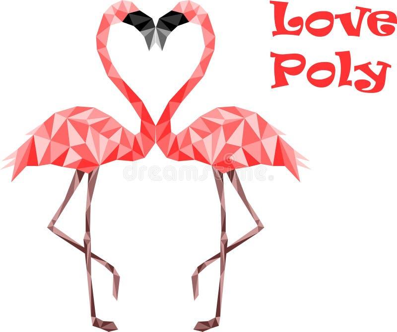 Poli fenicotteri bassi rosa nell'amore Colori sicuri di web immagine stock