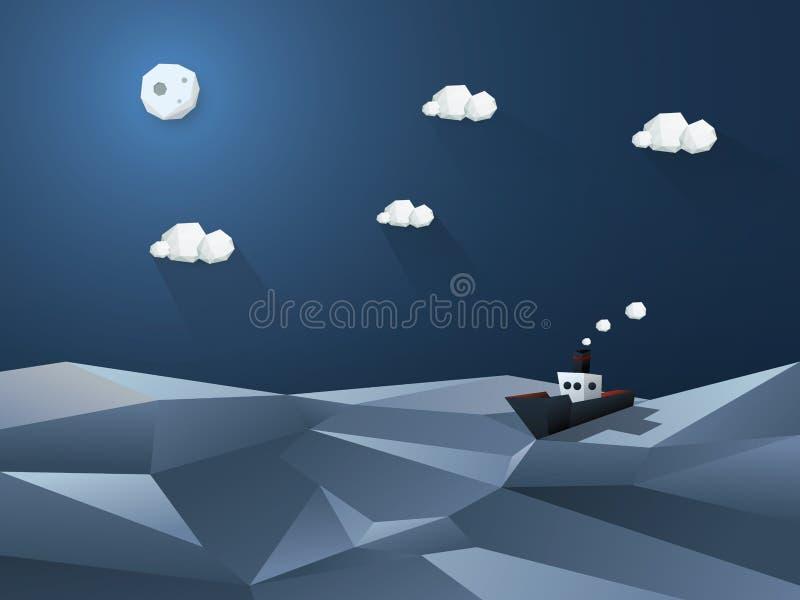 Poli fondo astratto basso Paesaggio poligonale illustrazione vettoriale