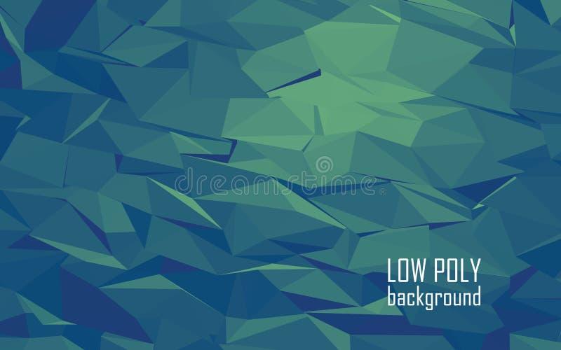 Poli fondo basso di vettore dell'estratto 3d Verde illustrazione di stock