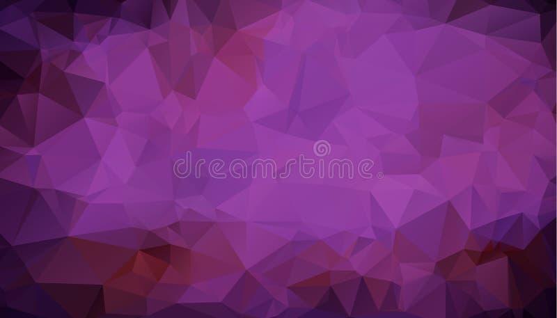 Poli fondo basso triangolare arruffato geometrico porpora scuro multicolore astratto del grafico dell'illustrazione di pendenza d illustrazione di stock
