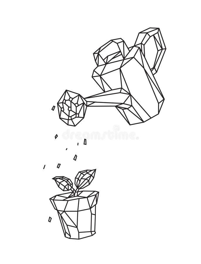 Poli illustrazione bassa di un annaffiatoio che innaffia una pianta in un vaso Vettore Disegno di profilo Retro stile Fondo, simb illustrazione di stock