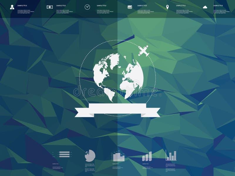 Poli interfaccia utente bassa del modello di infographics con illustrazione vettoriale