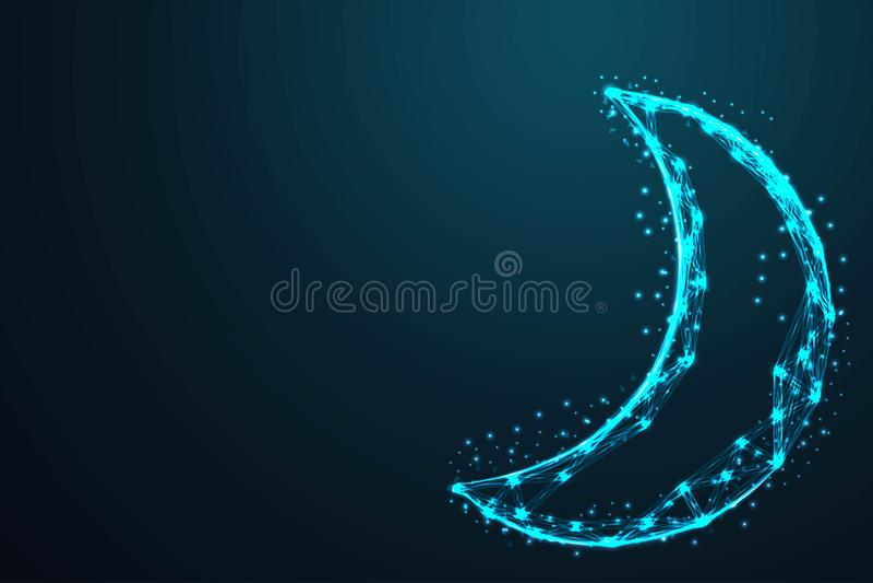 poli la maglia geometrico del cavo dell'estratto del cielo notturno e della luna e poligonale bassa della struttura del cavo asso royalty illustrazione gratis