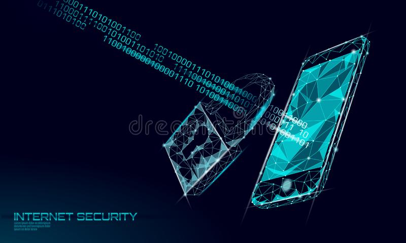 Poli lucchetto cyber basso di sicurezza sui dati dello smartphone Innovazione futura poligonale di segretezza di informazioni del illustrazione di stock