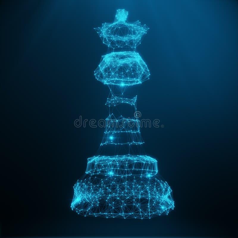 Poli modello basso astratto, regina del pezzo degli scacchi consistenti dei punti e delle linee blu Illustrazione astratta di str royalty illustrazione gratis