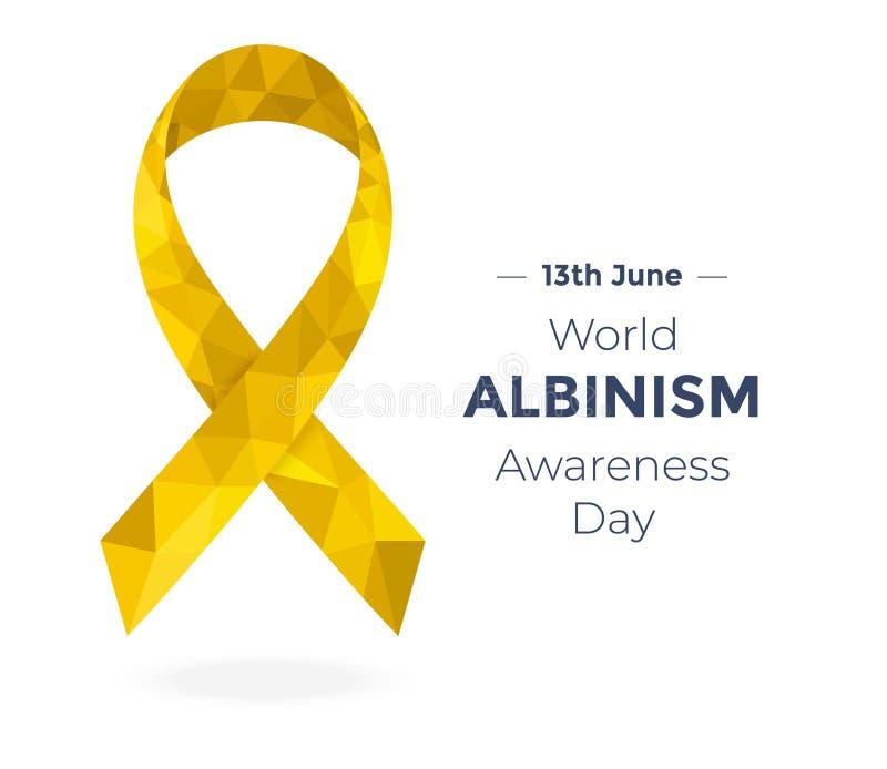 Poli nastro basso dorato di consapevolezza dell'albino, dedicato al giorno di consapevolezza di albinismo del mondo illustrazione vettoriale