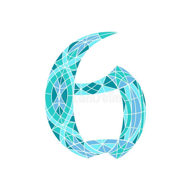 Poli numero basso 6 nel poligono blu del mosaico illustrazione di stock
