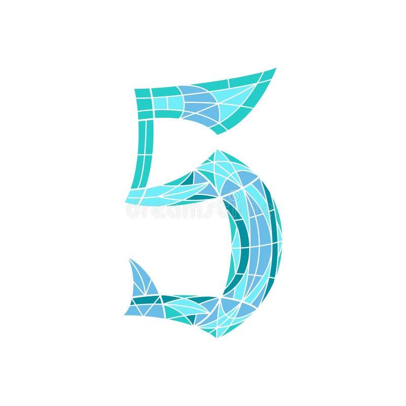 Poli numero basso 5 nel poligono blu del mosaico illustrazione vettoriale
