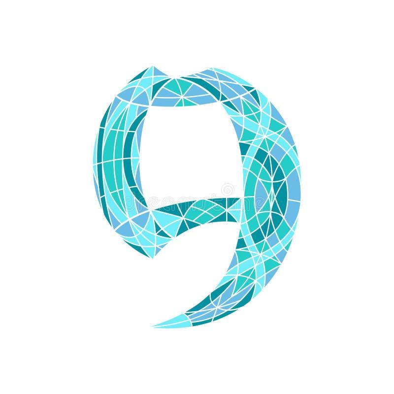Poli numero basso 9 nel poligono blu del mosaico illustrazione vettoriale