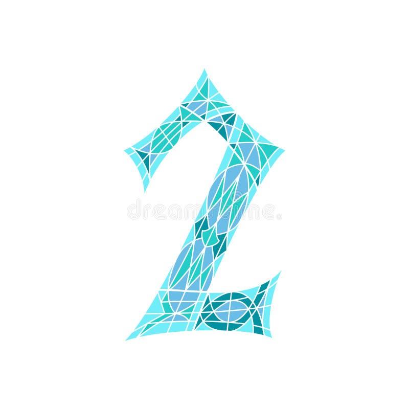 Poli numero basso 2 nel poligono blu del mosaico illustrazione di stock
