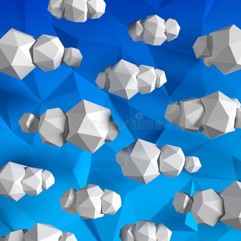 Poli nuvole basse sul cielo blu del triangolo illustrazione di stock