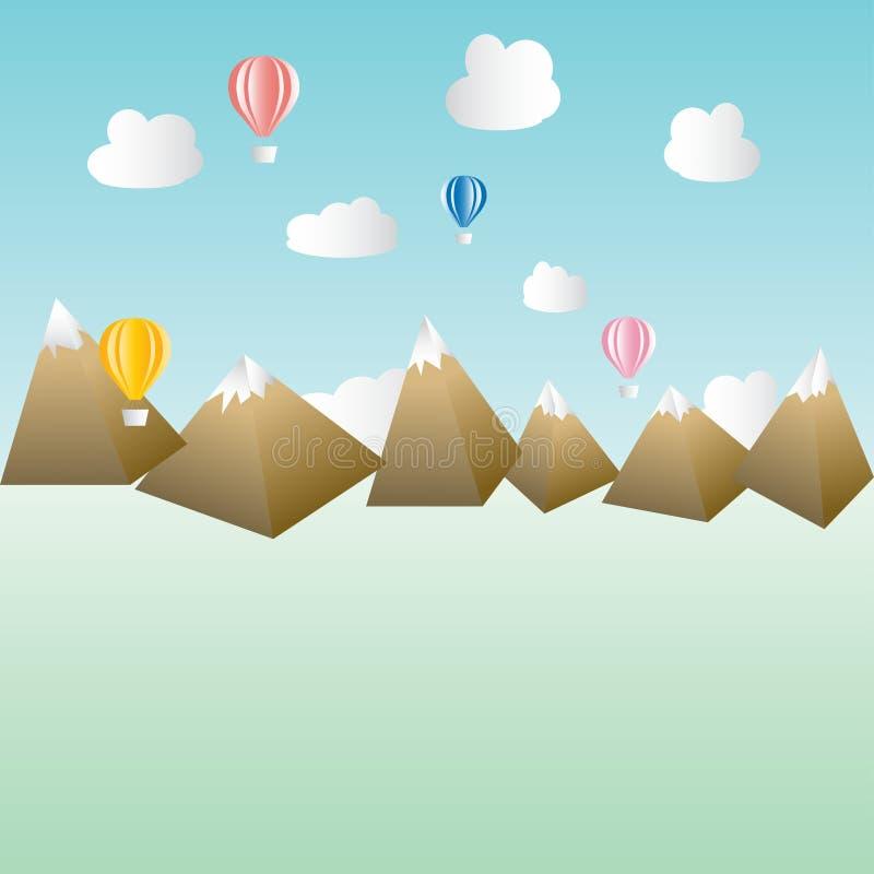 Poli orizzonte basso del paesaggio di scena del cielo delle nuvole della mongolfiera del paracadute delle montagne illustrazione di stock