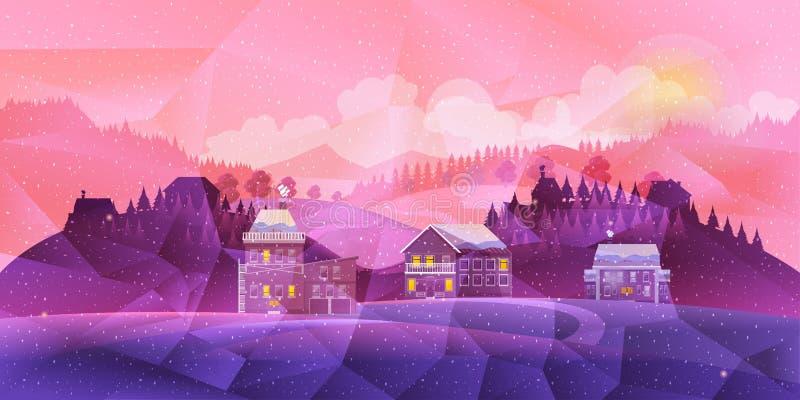 Poli paesaggio geometrico basso Montagne, nuvole e cielo blu Illustrazione di vettore royalty illustrazione gratis