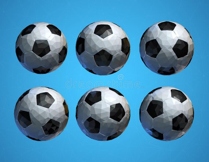 Poli pallone da calcio basso di calcio 3D su fondo blu illustrazione di stock