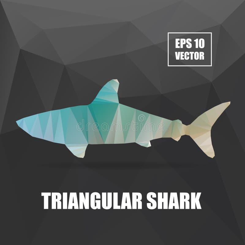 Poli progettazione Illustrazione triangolare dello squalo Squalo royalty illustrazione gratis