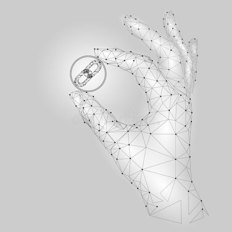 Poli simbolo basso di collegamento del blockchain della tenuta della mano con attenzione Il triangolo poligonale ha collegato il  illustrazione di stock