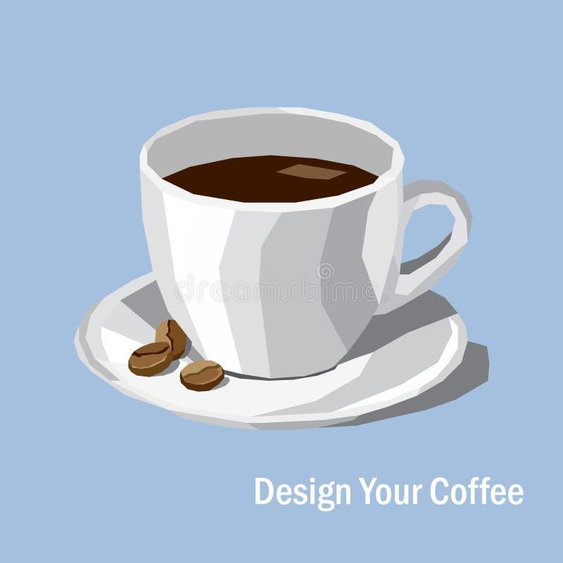 Poli tazza di caffè della porcellana e chicco di caffè bianchi bassi sul BAC di colore illustrazione di stock