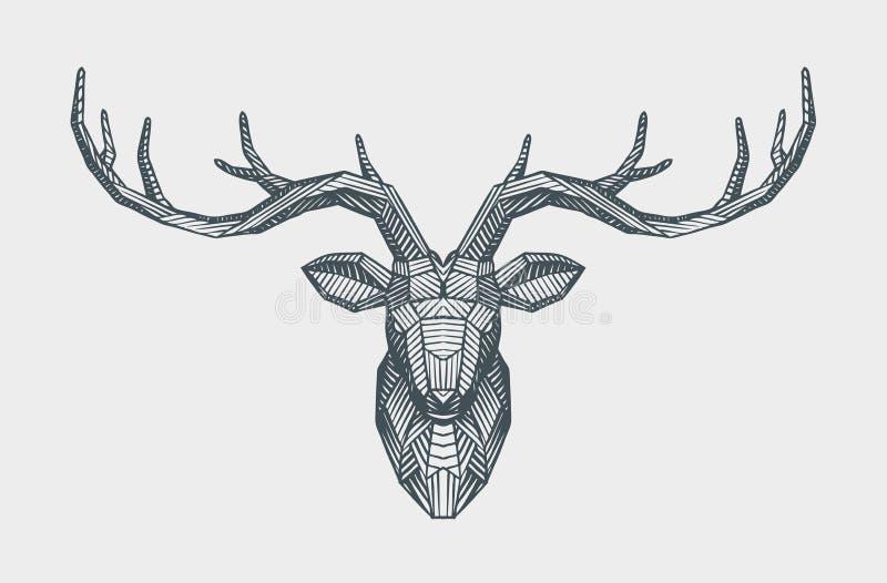 Poli testa bassa astratta dei cervi del triangolo Renna decorativa Illustrazione animale di vettore royalty illustrazione gratis