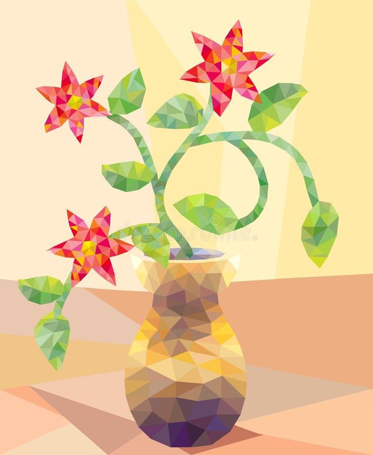 Poli tipo basso disposizione dei fiori illustrazione di stock