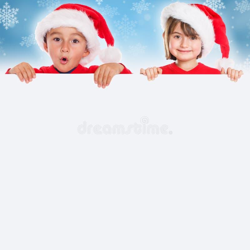 Poli vacío de la bandera del cuadrado de Santa Claus de la tarjeta de los niños de los niños de la Navidad imágenes de archivo libres de regalías