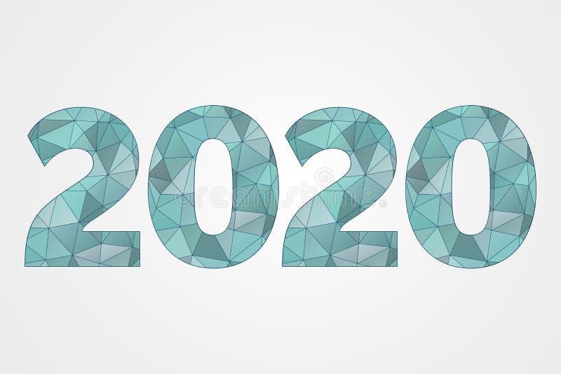 2020 poli- wektorowych symboli/lów Szczęśliwego nowego roku trójboka abstrakcjonistyczna ilustracja Dekoracyjna błękitna geometry ilustracji