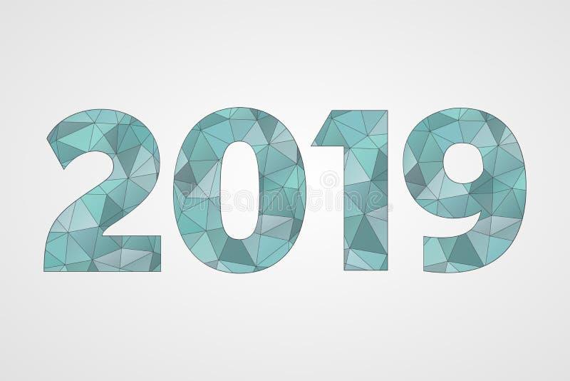 2019 poli- wektorowych symboli/lów Szczęśliwego nowego roku trójboka abstrakcjonistyczny illusration dla dekoraci, świętowanie, z ilustracja wektor