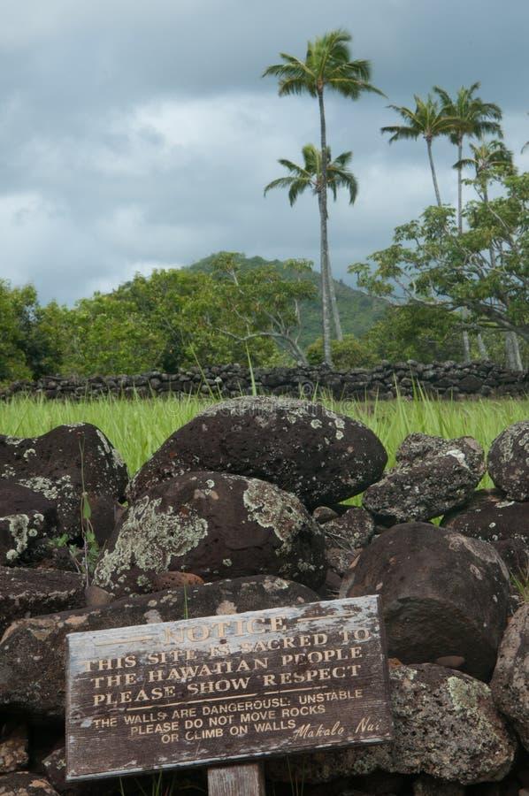 Poliahu Heiau of tempel op Kauai royalty-vrije stock afbeeldingen