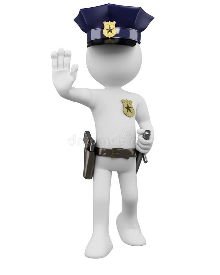 policía 3D con el arma y nightstick que ordena para parar libre illustration
