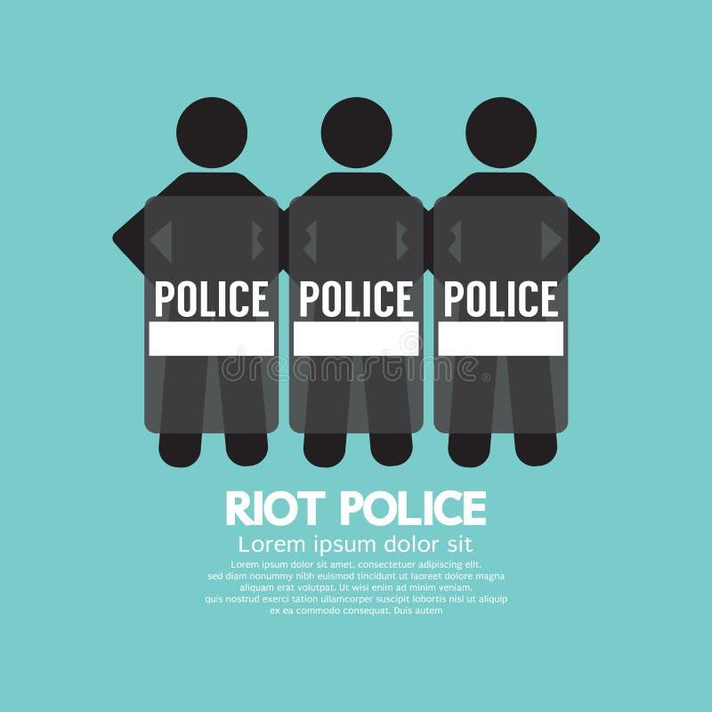 Policía antidisturbios que se coloca con el escudo ilustración del vector