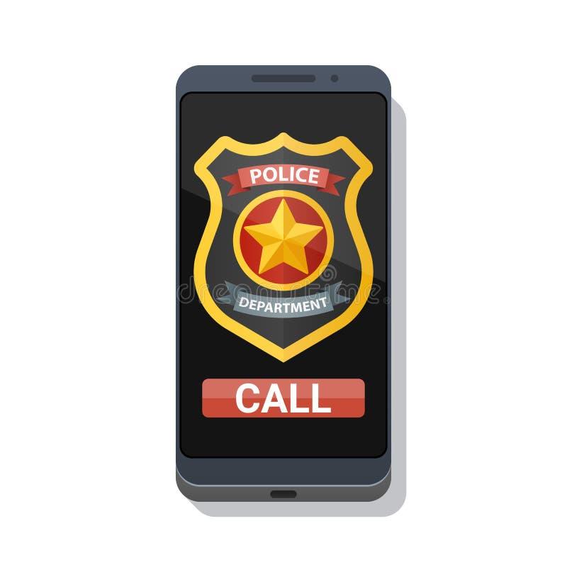 Policía app de la llamada en la pantalla del smartphone Insignia de la policía y botón de la llamada de emergencia Ilustración de stock de ilustración