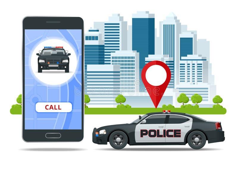 Policía app de la llamada en la pantalla del smartphone Uso de la llamada de emergencia por smartphone Concepto móvil el SOS para ilustración del vector
