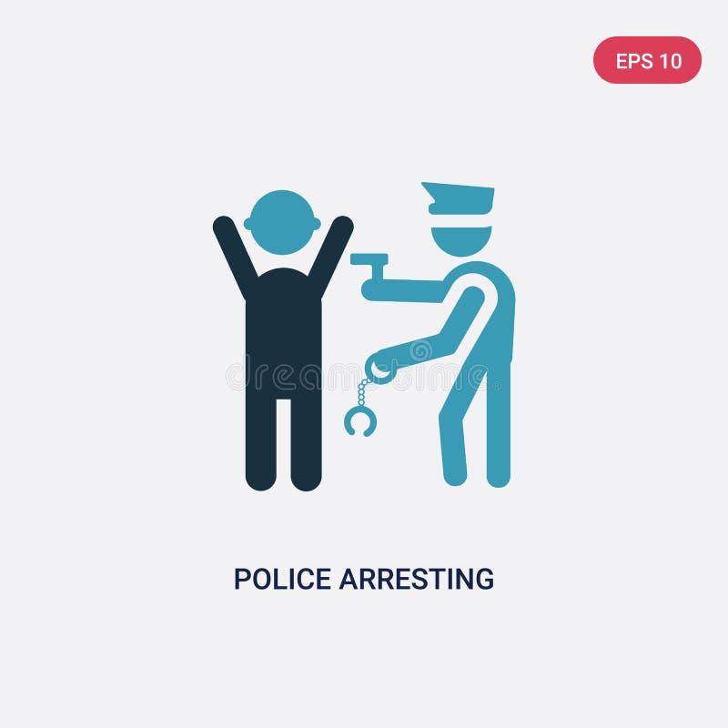 Policía bicolor que arresta el icono del vector del hombre del concepto de la gente la policía azul aislada que arresta símbolo d ilustración del vector