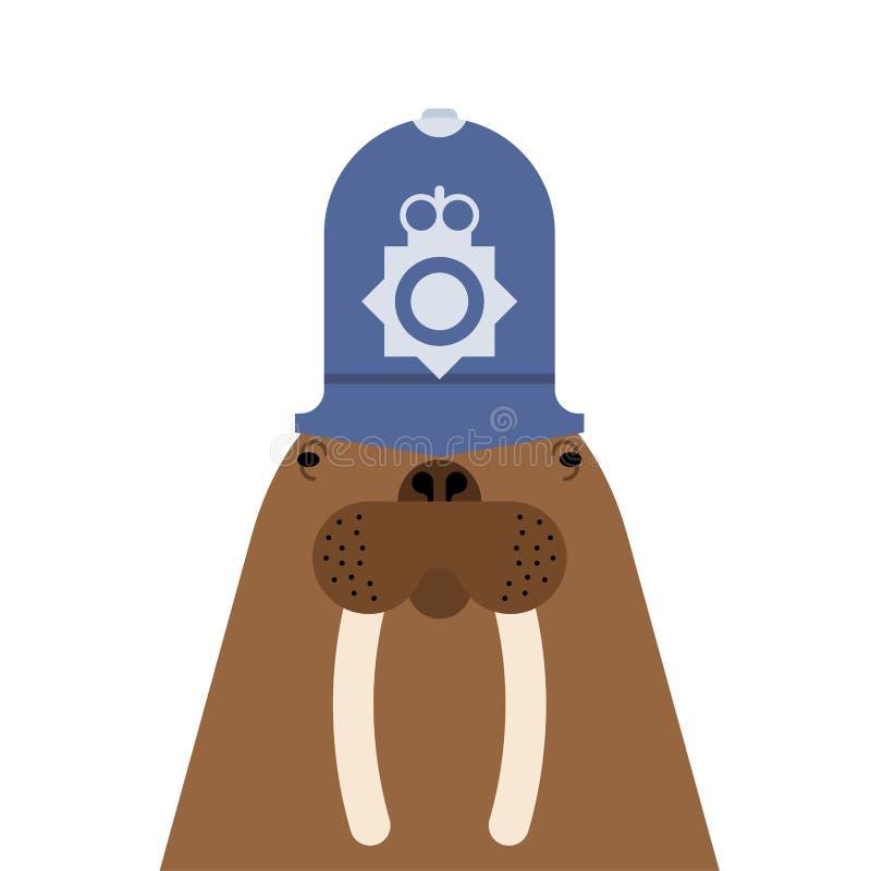 Policía británico de la morsa Colmillos largos Animal de mar la Antártida en c ilustración del vector
